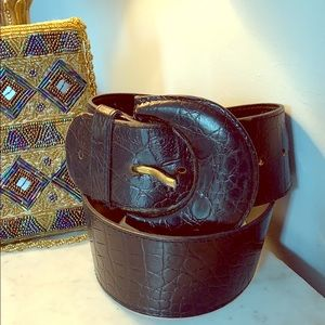 Furla Made in Italy pebbled black leather belt